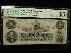 1860 $1 Rhode Island Providence Bank of America MS66 PMG EPQ