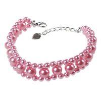 Drei Reihen Kuenstlich Perlen Verknuepft Haustier Hundehalsband Halskette S V2M4