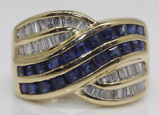 GORGEOUS 18K YELLOW GOLD 'LEVIAN' RING WITH 1.20 CTW SAPPHIRE AND DIAMONDS #AB10