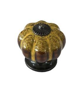 Antique Yellow Ceramic Door Knobs Vintage Pumpkin Style Cabinet Drawer Pulls