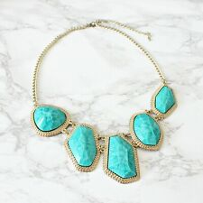 Blue Fashion Crystal Costume Jewellery Big Statement Faux Stone Necklace Gold