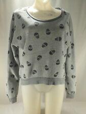Hot Topic Gray Skull Pullover Sweatshirt Sheer Black Back Heart Shaped Eyes M