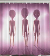 3 ALIENS STANDING HAZY PURPLE SCENE SCI-FI ET SPACE HUMANS COOL Shower Curtain