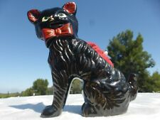 VINTAGE BLACK CAT with Red Pottery PIN CUSHION 1940s to 50s Nice detail