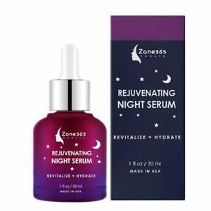 Zone 365 Rejuvenating Night Face Serum Vitamin E Hyaluronic Acid Witch Hazel 1oz