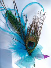 Peacock Feather Wedding CORSAGE Purple Teal Tourquoise No Flowers