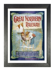 Great Northern Railway 1 Old Advert Poster Beach Sea Family Holiday Photo Kids