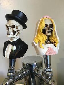 New figural DEAD BRIDE & GROOM SKULL lot goth home bar kegerator beer tap handle