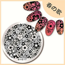 BORN PRETTY 07 Gergous Flower Nail Art Stamping Template Image Plate Round