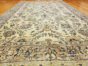 Exquisite Antique Cr1900-1939s Muted Natural Dye Wool Pile Oushak Area Rug 5x8ft