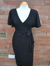 Ladies BNWT Boohoo Maternity Black Crepe Wrap Tie Waist Smart Formal Dress 10