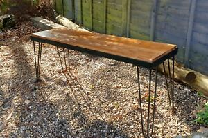 Handmade Rustic Reclaimed Wood Bench With Hairpin Legs