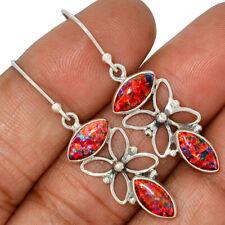 Silver Earrings Jewelry Ae104207 103U New listing Fire Opal 925 Sterling