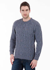 Jackson - 100% British Wool -  Mens Blue Nepp Aran Jumper Sweater