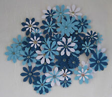 Flower Embellishments Blue, approx 40 pieces, with Rhinestones