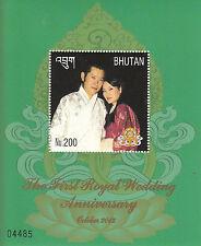 Bhutan 2012 MNH 1st Royal Wedding Anniversary 1v S/S IV King Jigme Wangchuck