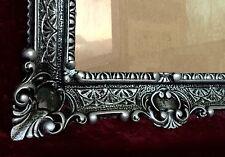 Cadre d'image NOIR-ARGENT baroque + verre PEINTURES/ MIROIR/ PHOTO 56x46 ancien