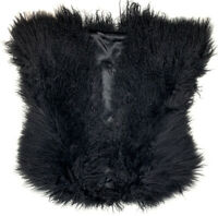 Womens Vintage Tibet Lamb Genuine Fur Jacket Short Sleeve Vest Coat Black RARE
