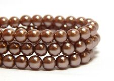65 6mm Light Cocoa Brown Pearls Round Light Brown Beads T-95F