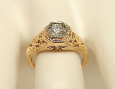 Women's 14K Yellow Gold .20 Ct. Round Diamond Filigree Engagement Ring Size 5