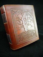 Wicca TREE of LIFE Handmade BROWN Leather Journal - Book of Shadows - Grimoire