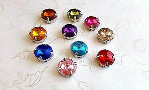 12x7mm Acrylic Gems With Platinum Base (10) - P114 Jewelry Finding