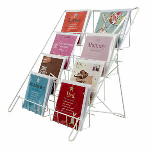 Greeting Card Display Foldable Lightweight Collapsible Shop Stand in White (E8W)