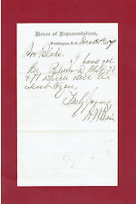 1877 SENATOR H.W.BLAIR NOTE SIGNED-INTRODUCED NATIONAL SUNDAY DAY-OF-REST BILL