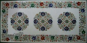 24 x 48 Inches Marble Lining Room Table Top White Dining Table Pietra Dura Art