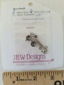 JBW DESIGNS Charm Embellishments for Cross Stitch BASEBALL Silver Charms Pack