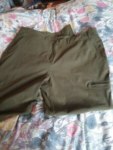 Ladies Khaki green zip off Walking trousers with stretch Peter Storm size 18-20