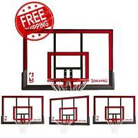 Spalding 48 Polycarbonite Basketball Backboard and Rim Combo Hoop Goal Net NEW