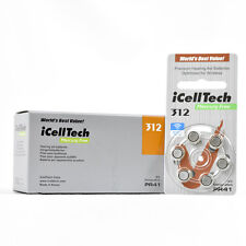iCellTech Mercury Free Hearing Aid Batteries Size 312 (60 Batteries)Expires 2021