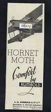 DE HAVILLAND HORNET MOTH TOURING 1935 WITH COMFORT UPHOLSTERY BY RUMBOLD AD