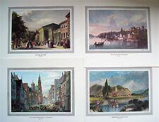 Baden-Baden,Freiburg,Überlingen,Augsburg,München,5 kolorierte Stiche (28x33,5cm)