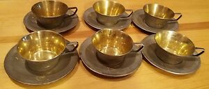 USSR Silver 875 gold plated coffee service: 6 pcs of cups & saucers (783 g)