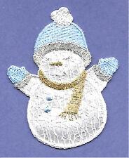 Snowman - Winter - Snow -W/Silver & Gold Metallic - Iron On Applique Patch