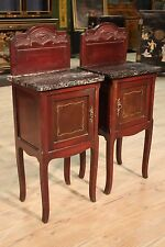 LOVELY COUPLE NIGHTSTANDS CARVED MAHOGANY LEVEL MARBLE ITALY PERIOD '900 H 40 5/