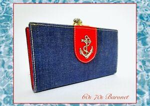 Vintage Baronet Red Wallet 60s 70s Retro Denim Jean Preppy Nautical Island Bay
