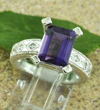 Antique Inspired 3.09 ct 14k White Gold Ladies Natural Amethyst  & Diamond Ring