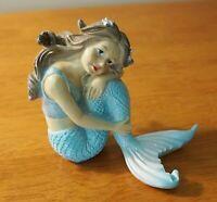 Sitting Mermaid Statue Sculpture Figurine Blue Fins Nautical Beach Home Decor