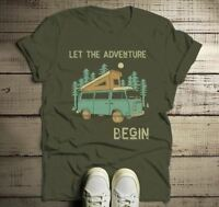 Men's Camping T Shirt Pop Up Van Retro Shirt Adventure Begin Tshirt Explore Natu