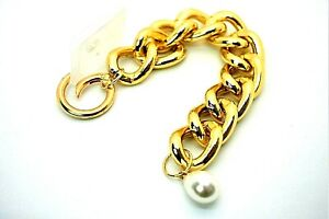 Bracelet Chunky Lock Chain Pearl Pendant Statement Women's Men Valentine's Gift