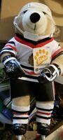 "Vtg Chicago Blackhawk Hockey Bobo Bear 20"" tall Complete Hockey uniform"