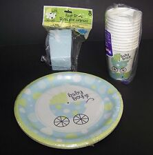 Baby Shower Boy Party Supplies Favor Boxes Plates Cups Blue Polka Dots Carriage