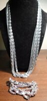 vintage sarah coventry set necklace bracelet silver tone chain 70s