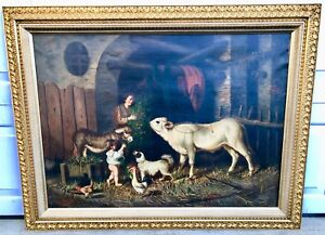 "Antique Painting Oil on Canvas Gaetano Mormile  Italian ""Feeding Farm Life"" 1869"