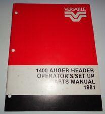 Versatile 1400 Auger Header Operators Set Up & Parts Catalog Manual book