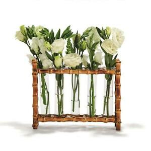 Two's Company Natural Bamboo Vase Includes 5 Glass Tubes