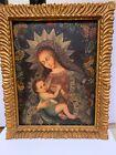 Spanish Colonial Cuzco oil painting canvas madonna & child original frame SUPER